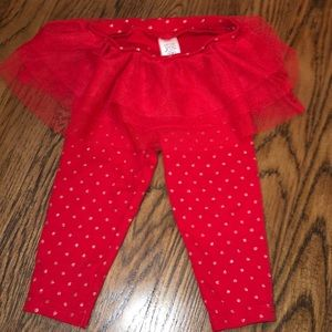 Red leggings with attached tutu 9 months